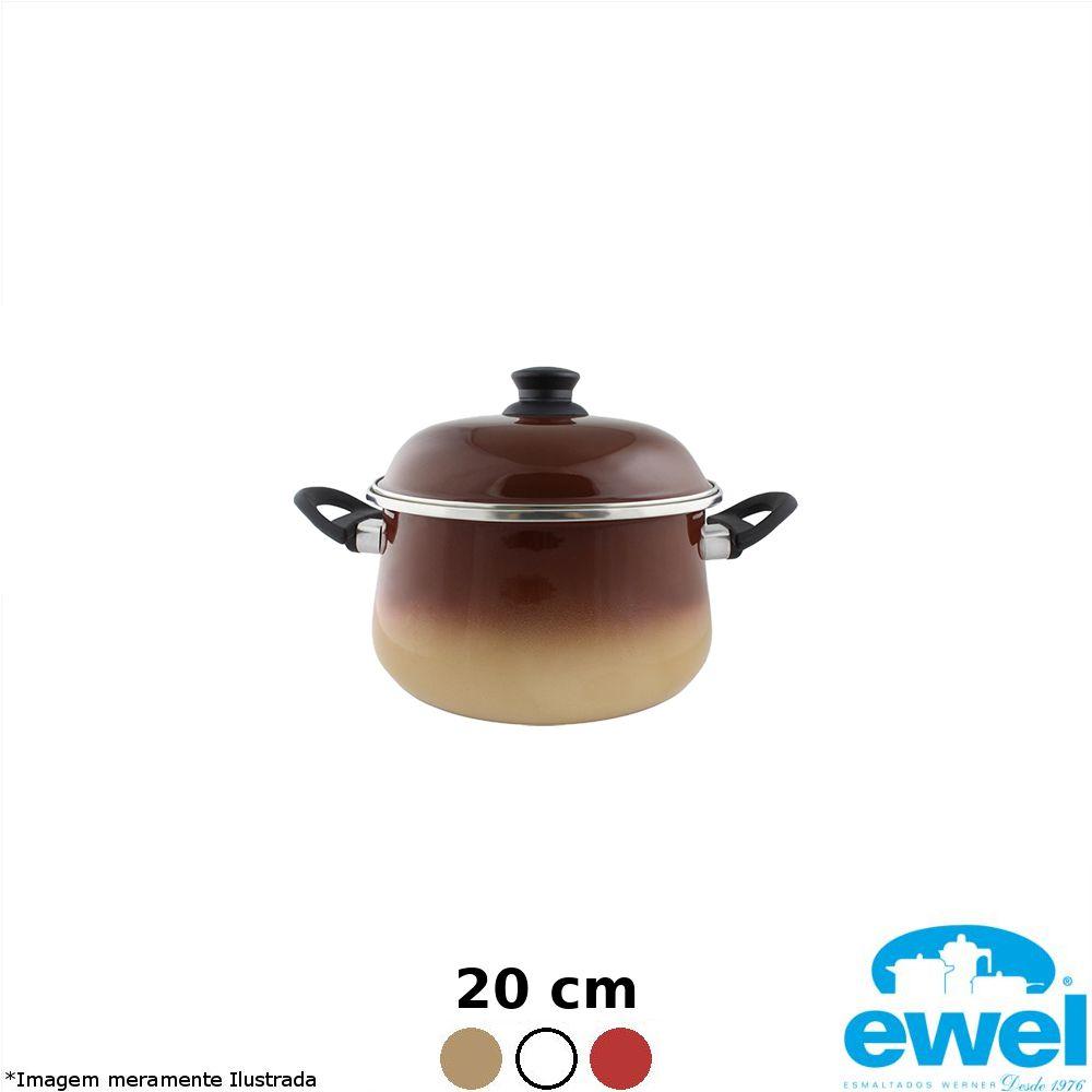 Caçarola Esmaltada Bojuda 20 cm Cores Variadas - Ewel