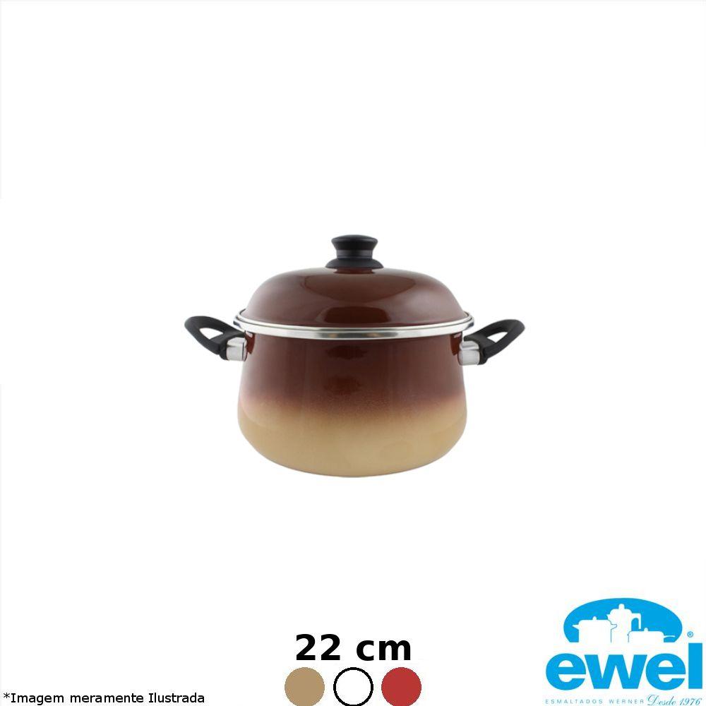 Caçarola Esmaltada Bojuda 22 cm Cores Variadas - Ewel