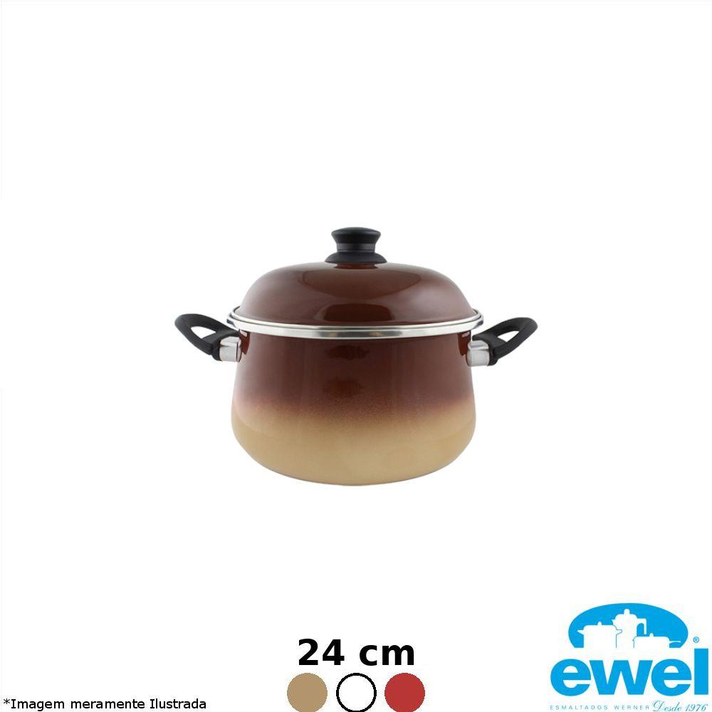 Caçarola Esmaltada Bojuda 24 cm Cores Variadas - Ewel