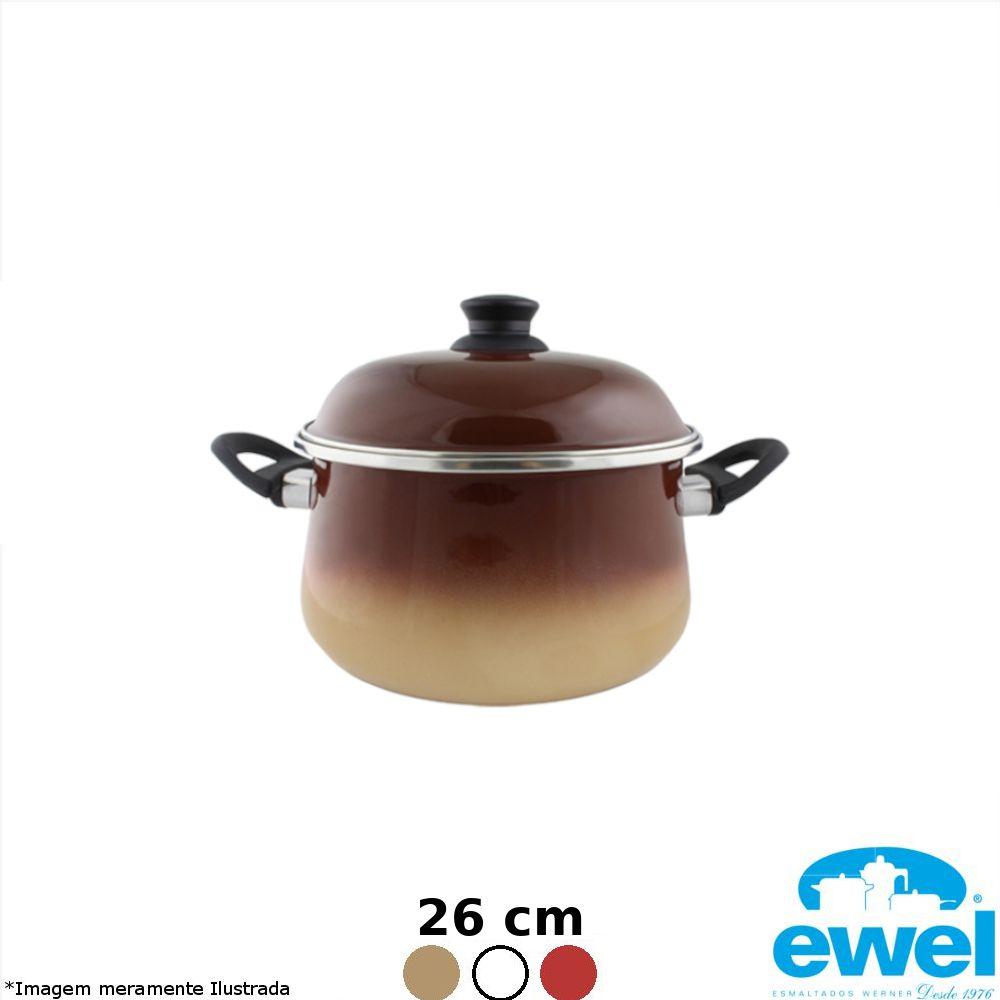 Caçarola Esmaltada Bojuda 26 cm Cores Variadas - Ewel