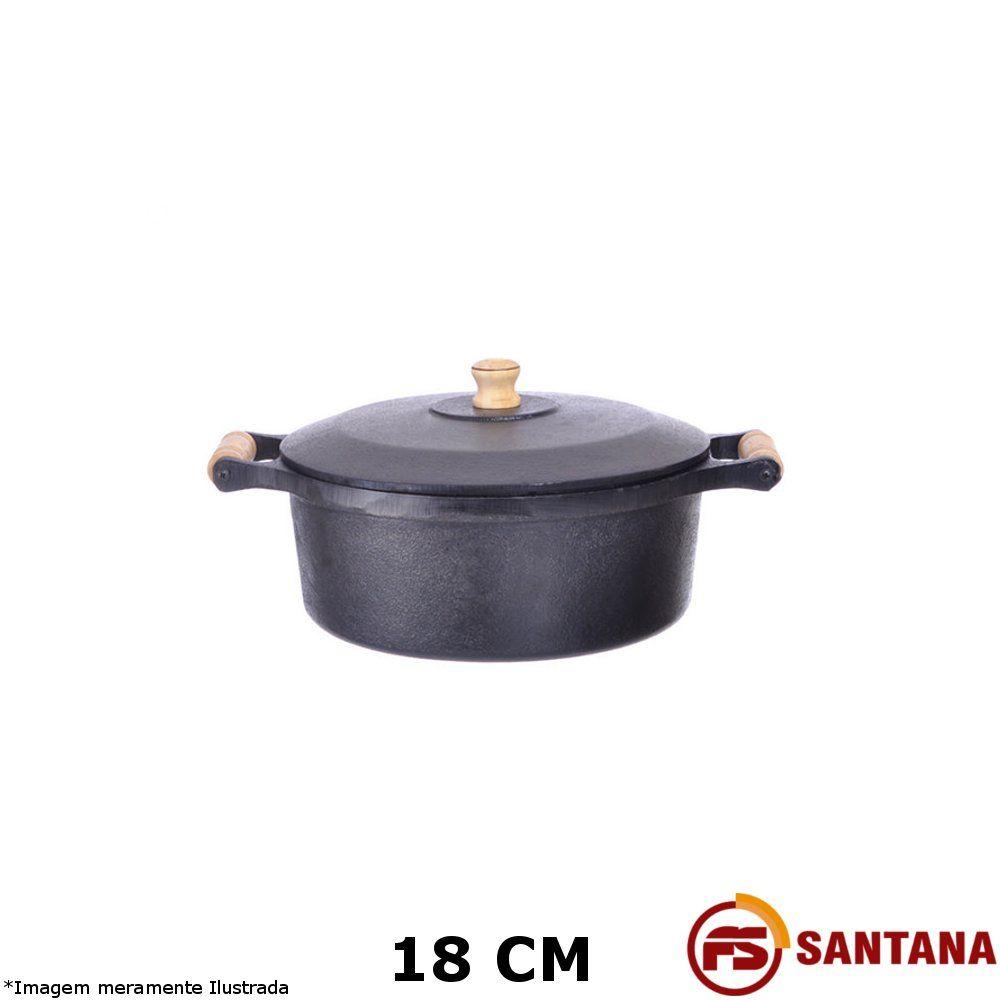 Caçarola Ferro c/ Tampa 18 cm - Fundição Santana