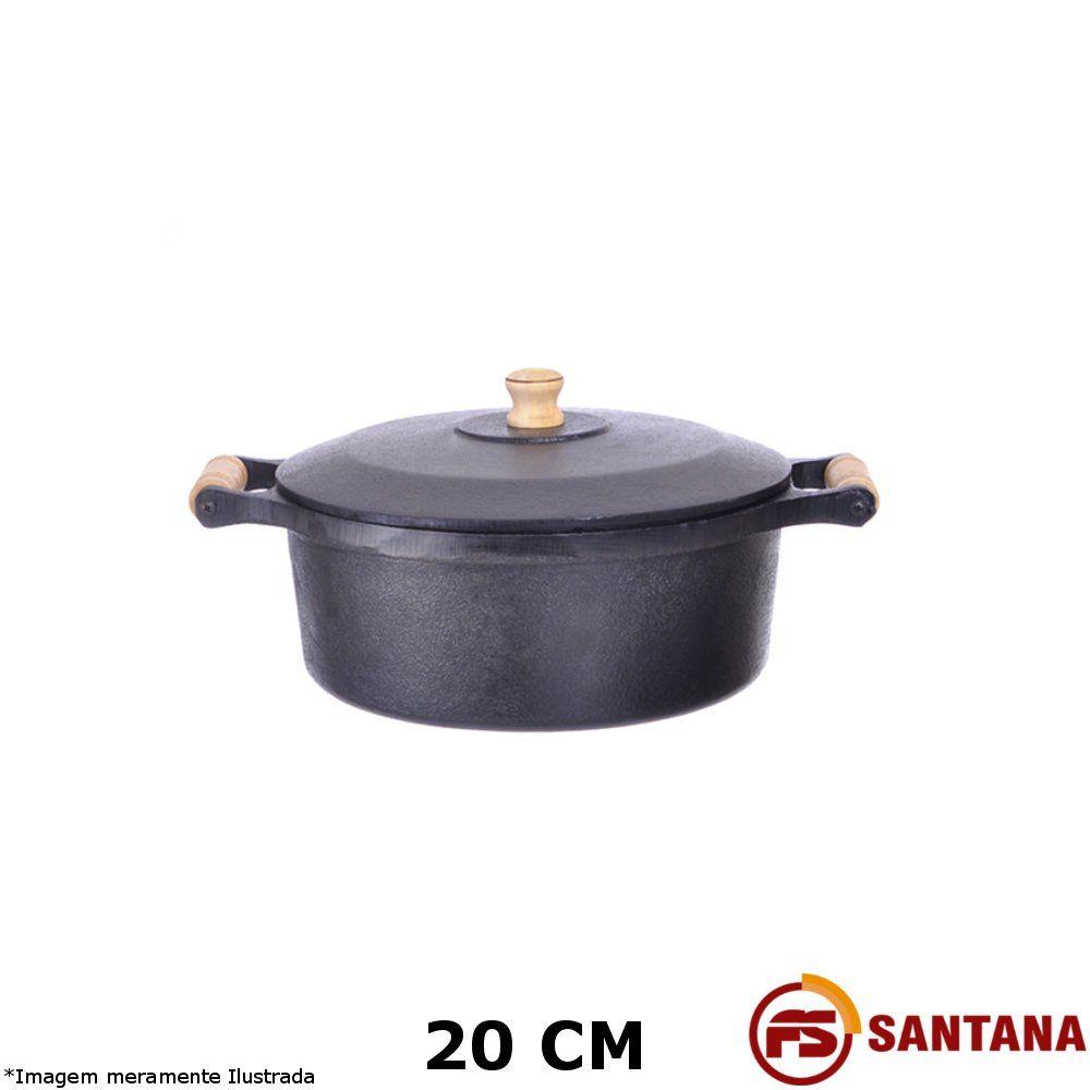 Caçarola Ferro c/ Tampa 20 cm - Fundição Santana