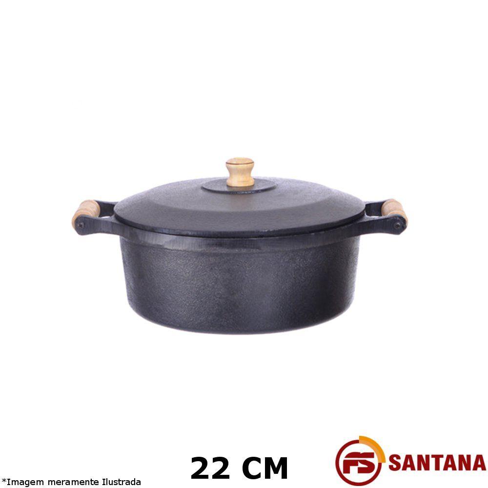 Caçarola Ferro c/ Tampa 22 cm - Fundição Santana
