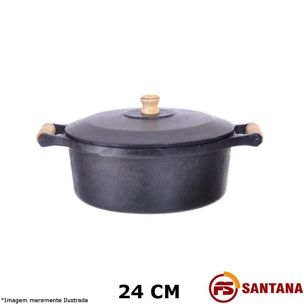 Caçarola Ferro c/ Tampa 24 cm - Fundição Santana