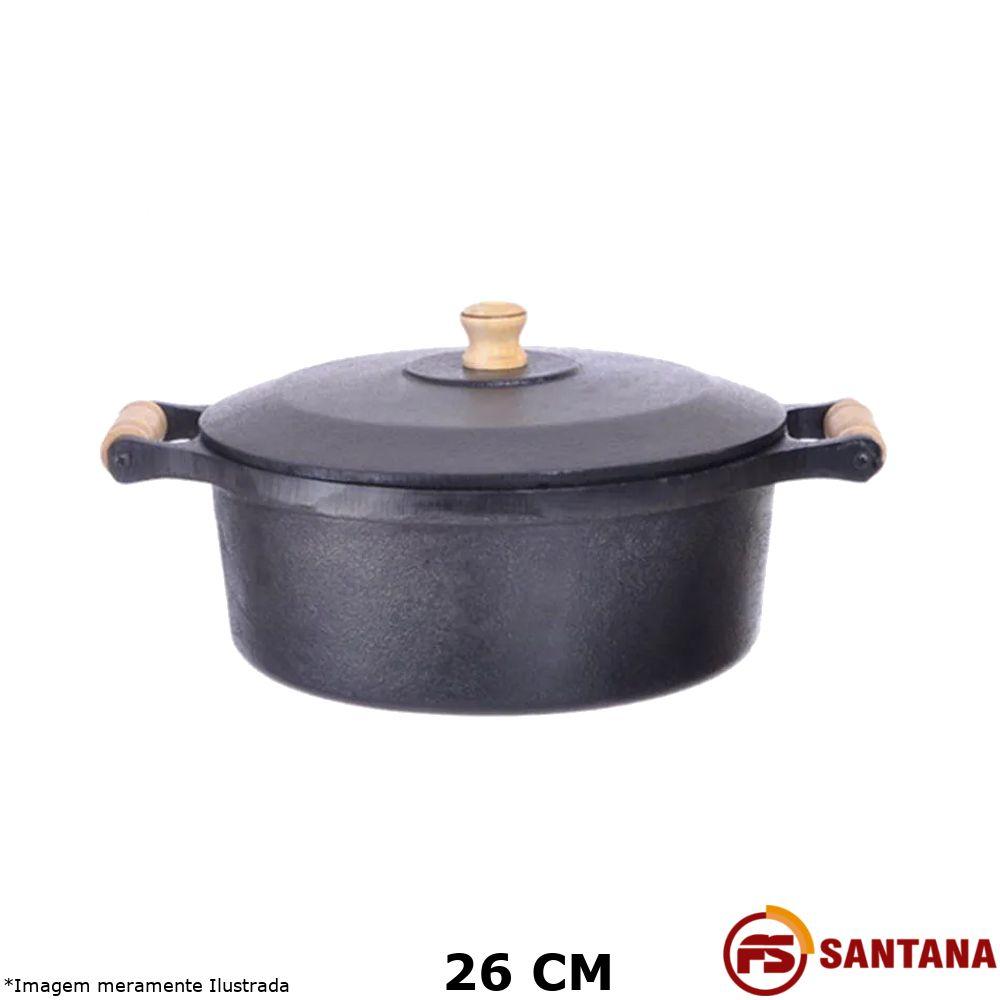 Caçarola Ferro c/ Tampa 26 cm - Fundição Santana