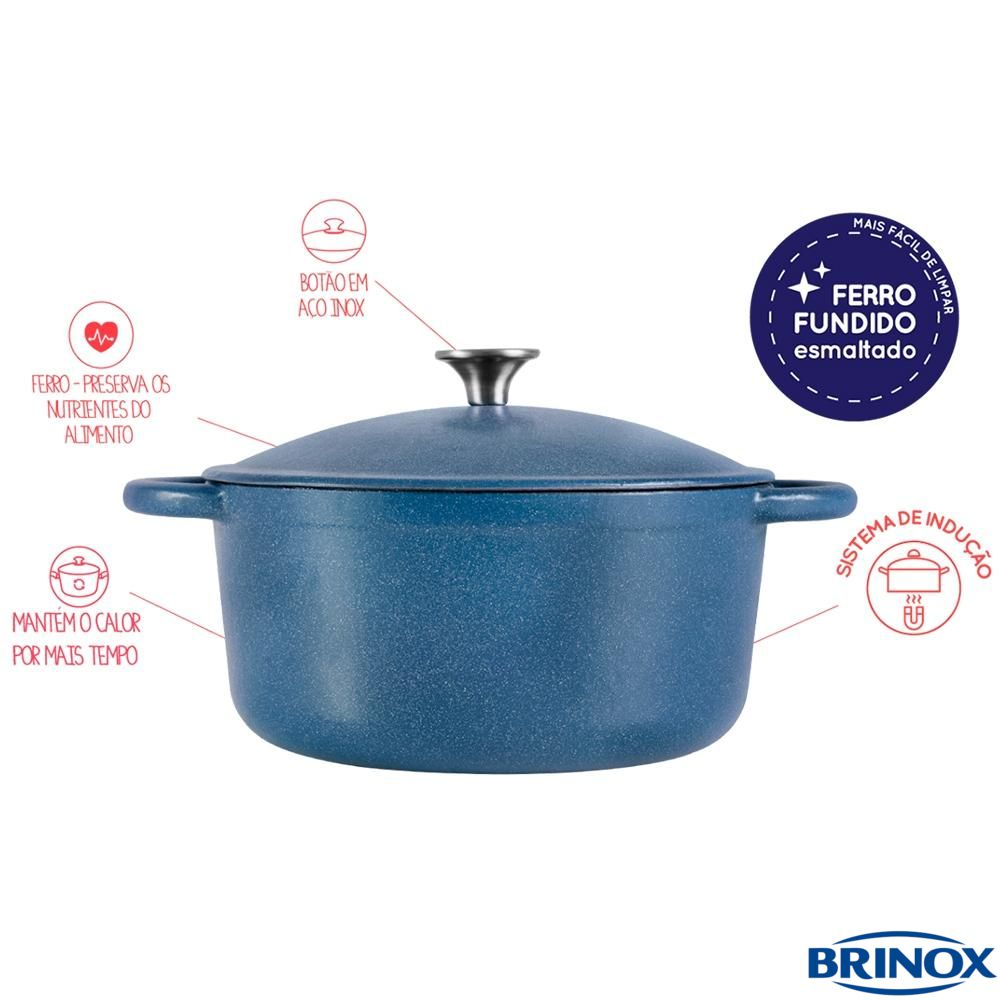 Caçarola Oval Ferro Fundido e Esmalte 26 cm Fusion Azul - Brinox