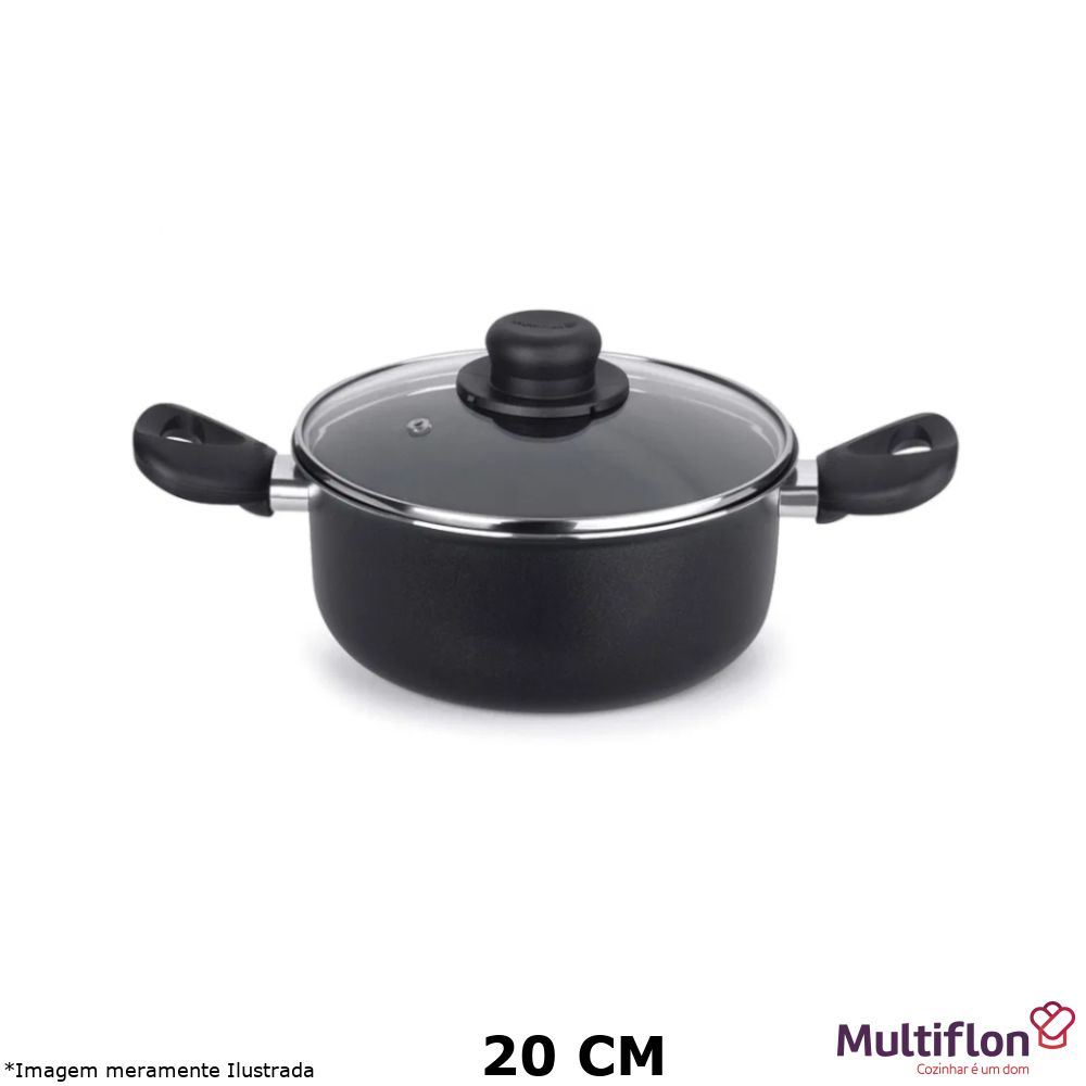 Caçarola Antiaderente Gourmet Vapore 20 cm Tampa de Vidro - Multiflon
