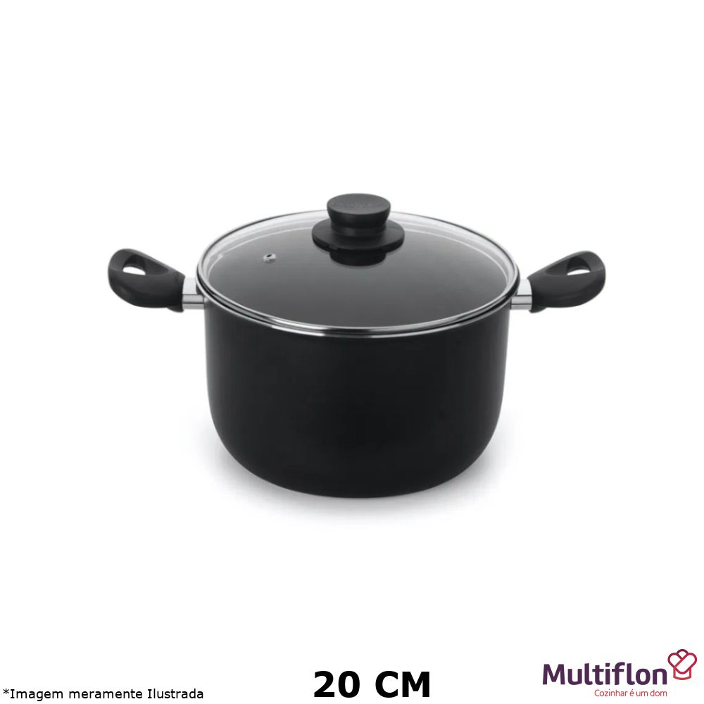 Caldeirão Antiaderente Gourmet Vapore 20 cm Tampa de Vidro - Multiflon
