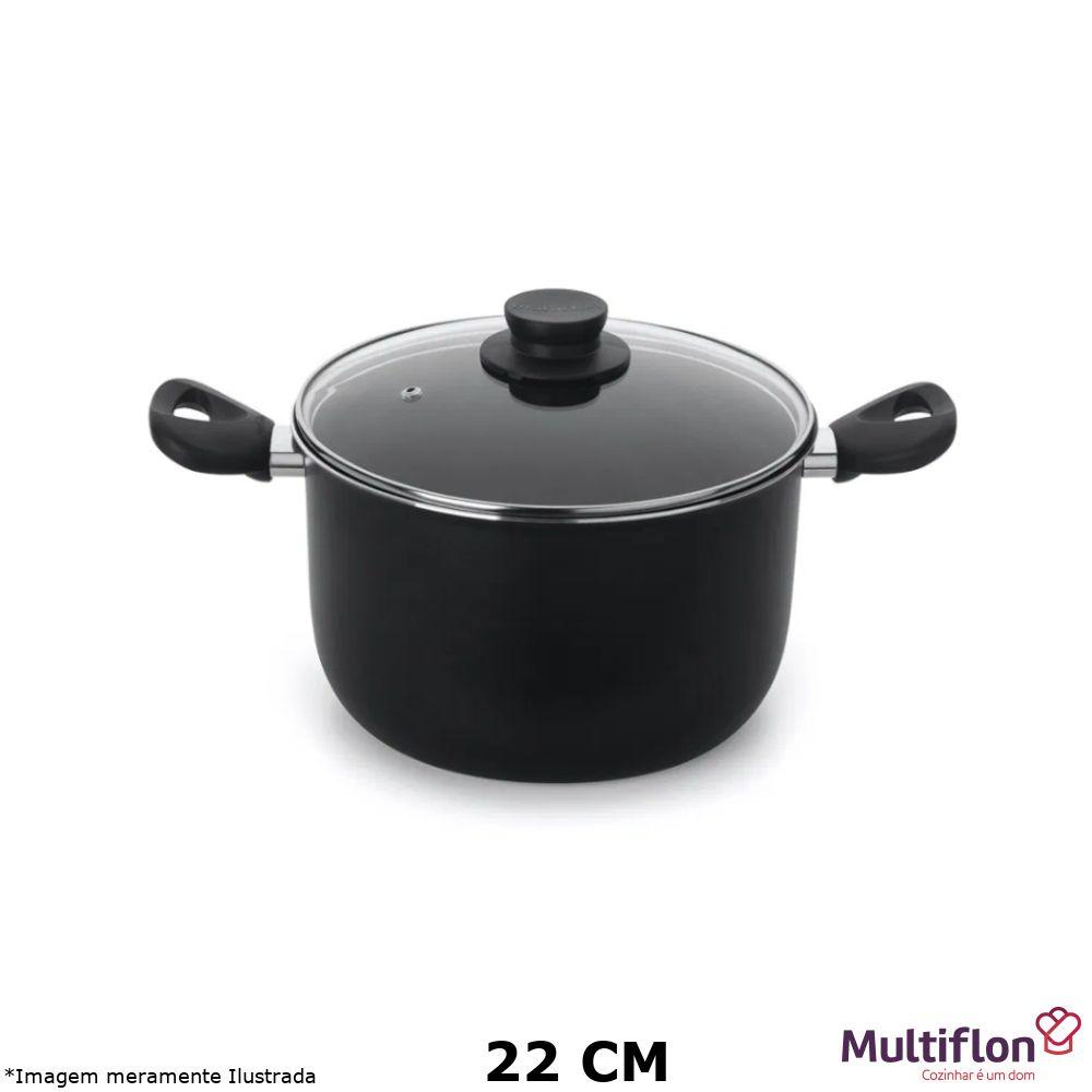 Caldeirão Antiaderente Gourmet Vapore 22 cm Tampa de Vidro - Multiflon