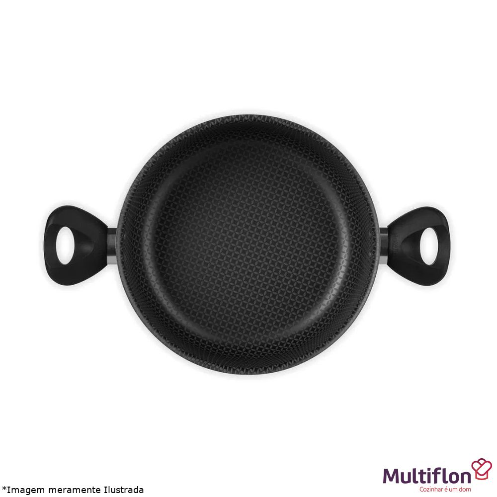 Caldeirão Antiaderente Gourmet 24 cm Tampa de Vidro - Multiflon