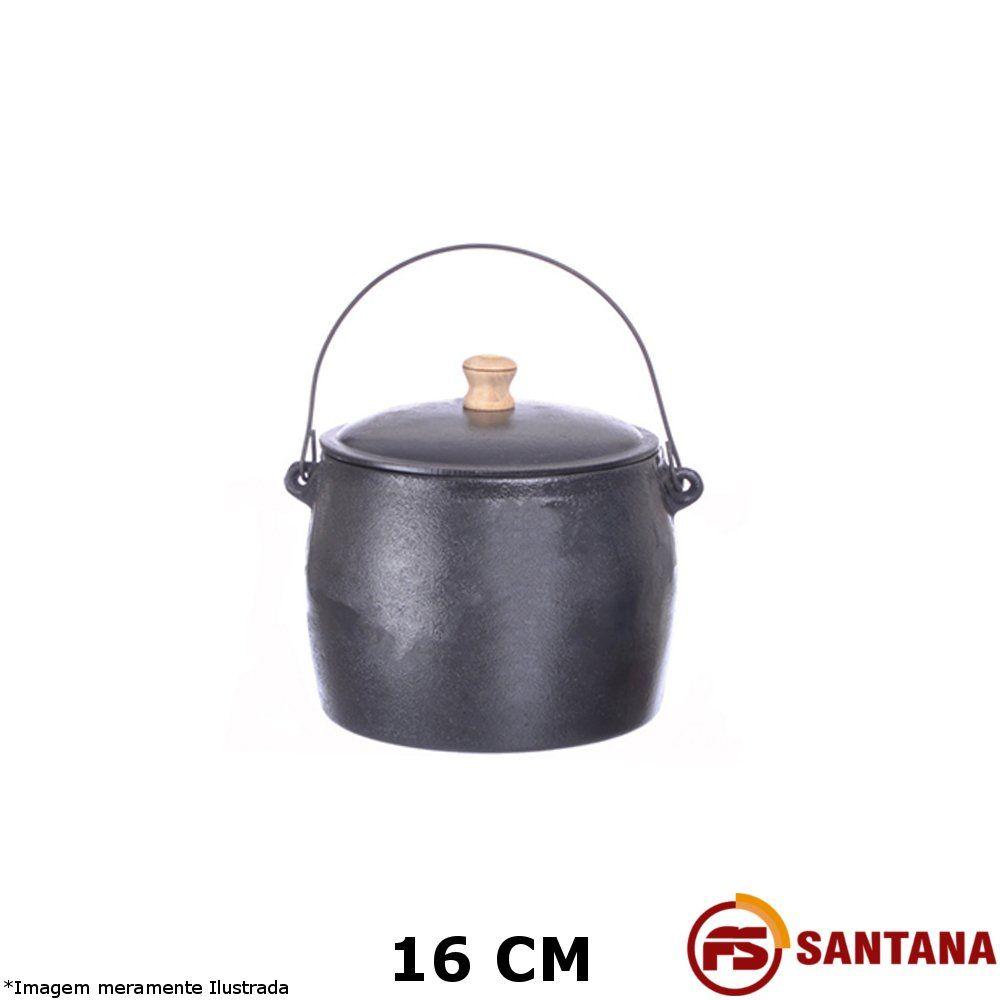 Caldeirão Ferro c/ Tampa 16 cm  - Fundição Santana