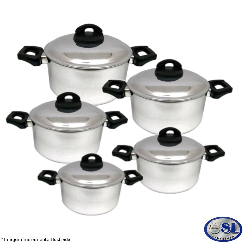 Conjunto Caçarolas Alumínio Polido 5 Peças Tamanho 16 a 24 cm