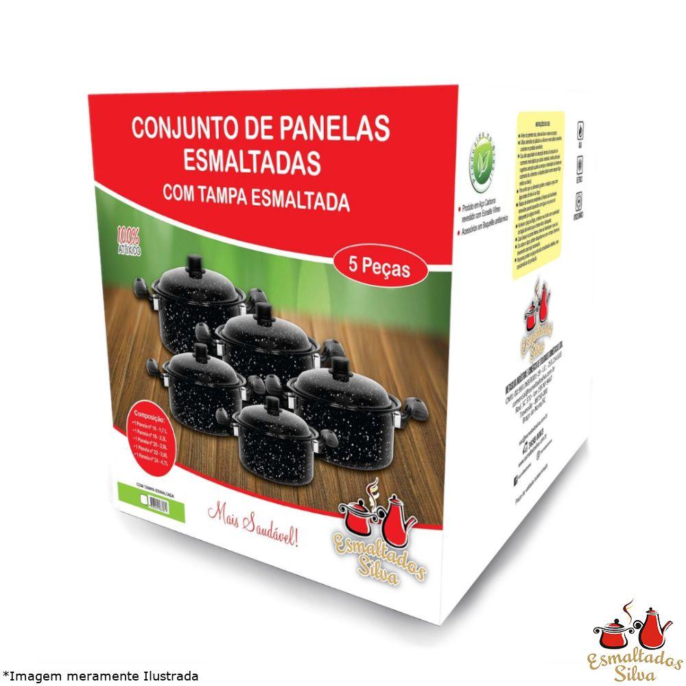 Conjunto de Panelas Esmaltadas 5 Peças Preto - Esmaltados Silva
