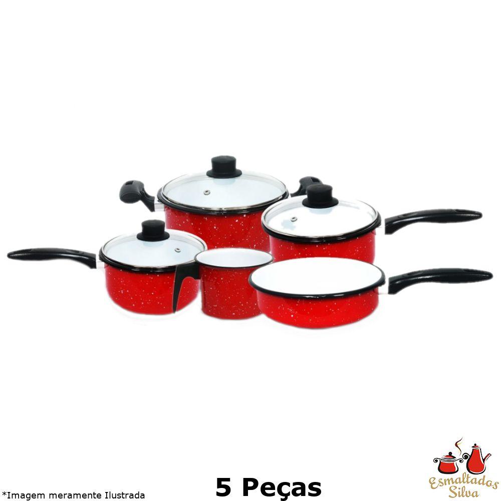Conjunto Esmaltado 5 Peças Vermelho e Branco - Esmaltados Silva