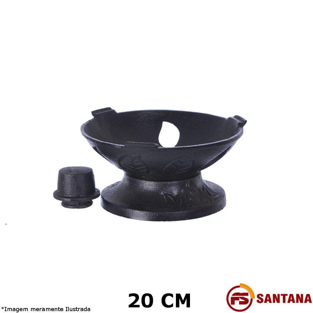 Fogareiro Redondo 20 cm Ferro Fundido - Fundição Santana