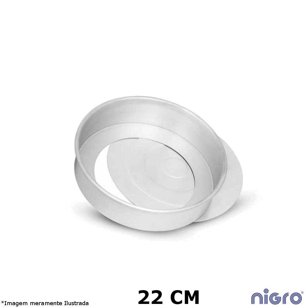 Forma Redonda Alumínio Fundo Removível 22 cm - Nigro