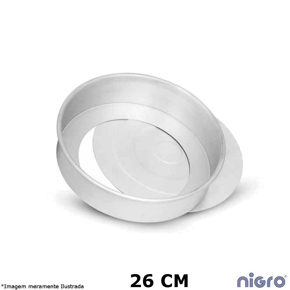 Forma Redonda Alumínio Fundo Removível 26 cm - Nigro