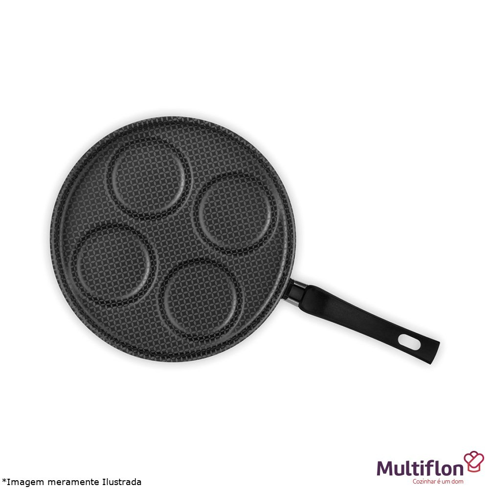Frigideira Antiaderente Para 4 Ovos c/ Tampa Linha Gourmet - Multiflon