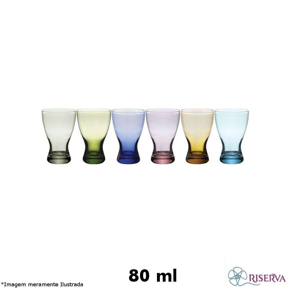 Jogo 06 Copos Licor Coloridos 80 ml - Riserva
