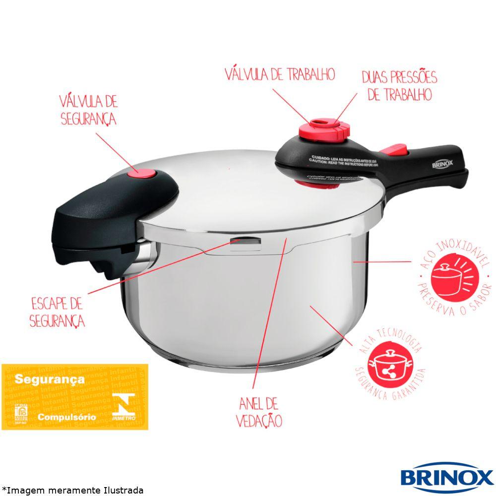 Panela de Pressão Inox 4,5 Litros Supra - Brinox
