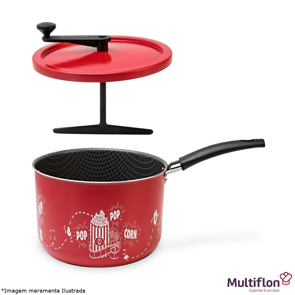 Pipoqueira Antiaderente 20 cm Vermelha PopCorn - Multiflon
