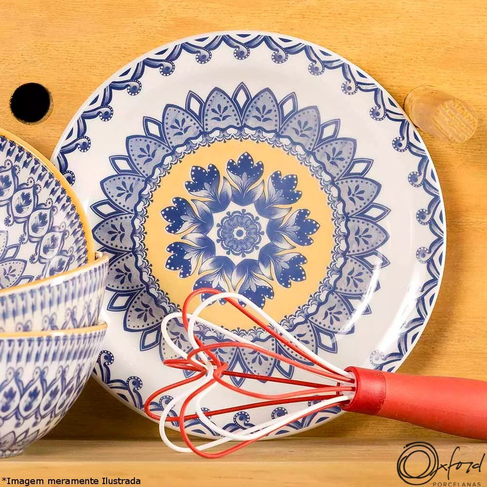 Prato Cerâmica Sobremesa Floreal La Carreta - Oxford