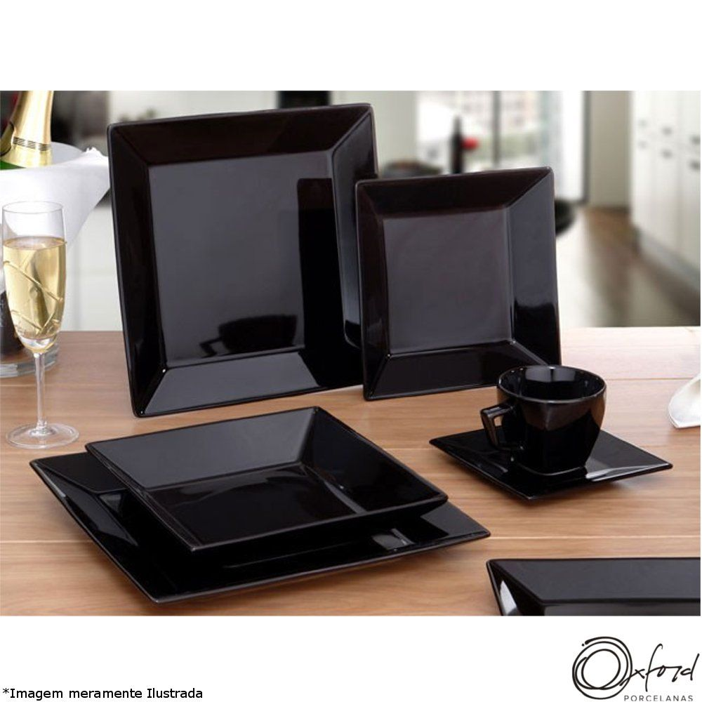 Prato Porcelana Raso Quartier Black - Oxford