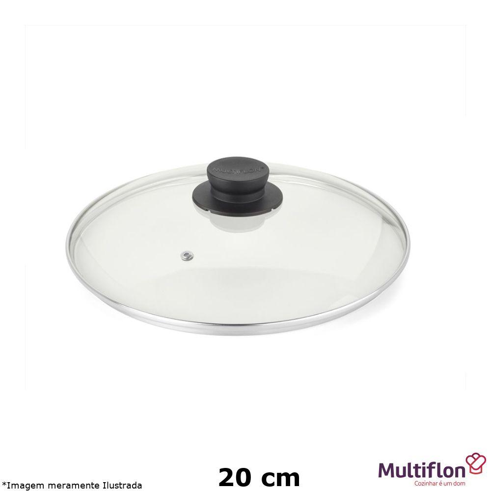 Tampa de Vidro com Pomel Preto 20 cm - Multiflon
