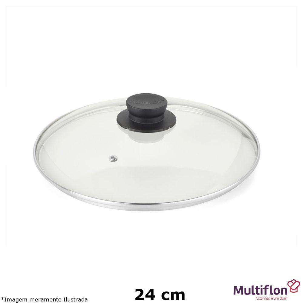 Tampa de Vidro com Pomel Preto 24 cm - Multiflon