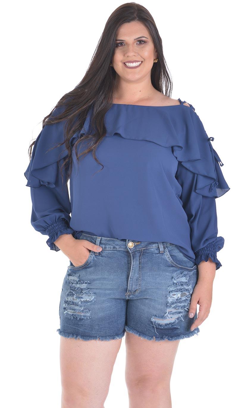 Blusa Plus Size Blue