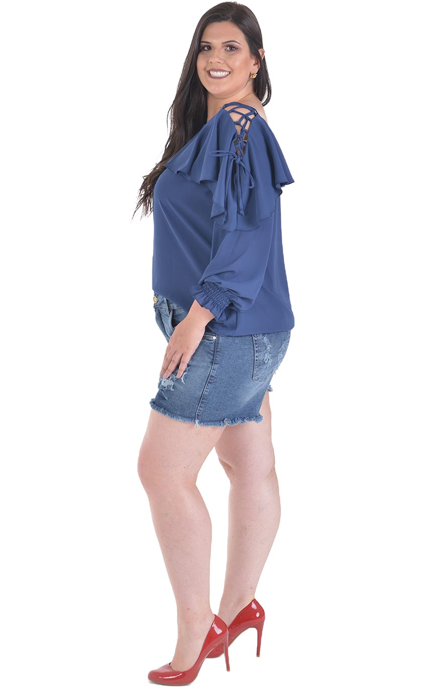 Blusa Plus Size Blue