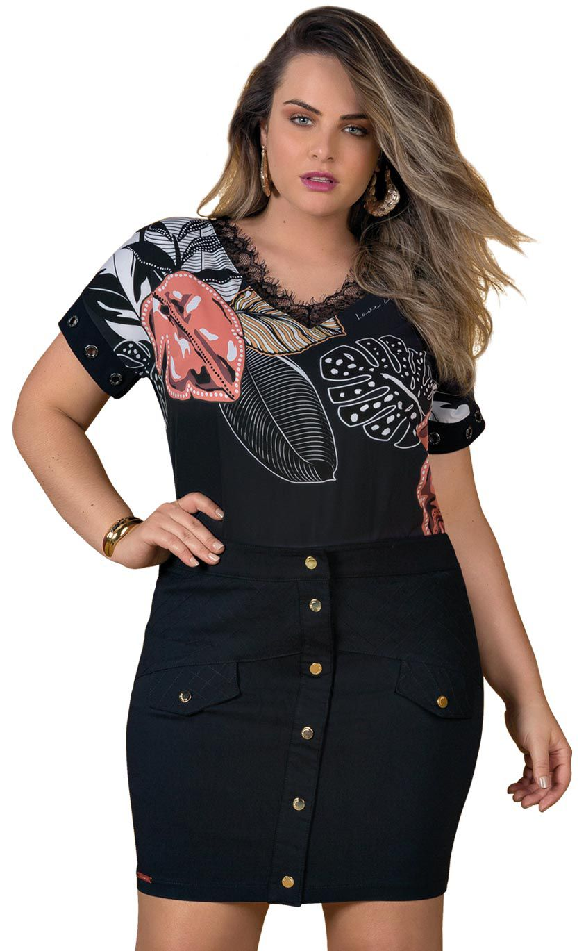 Blusa Plus Size Collaret
