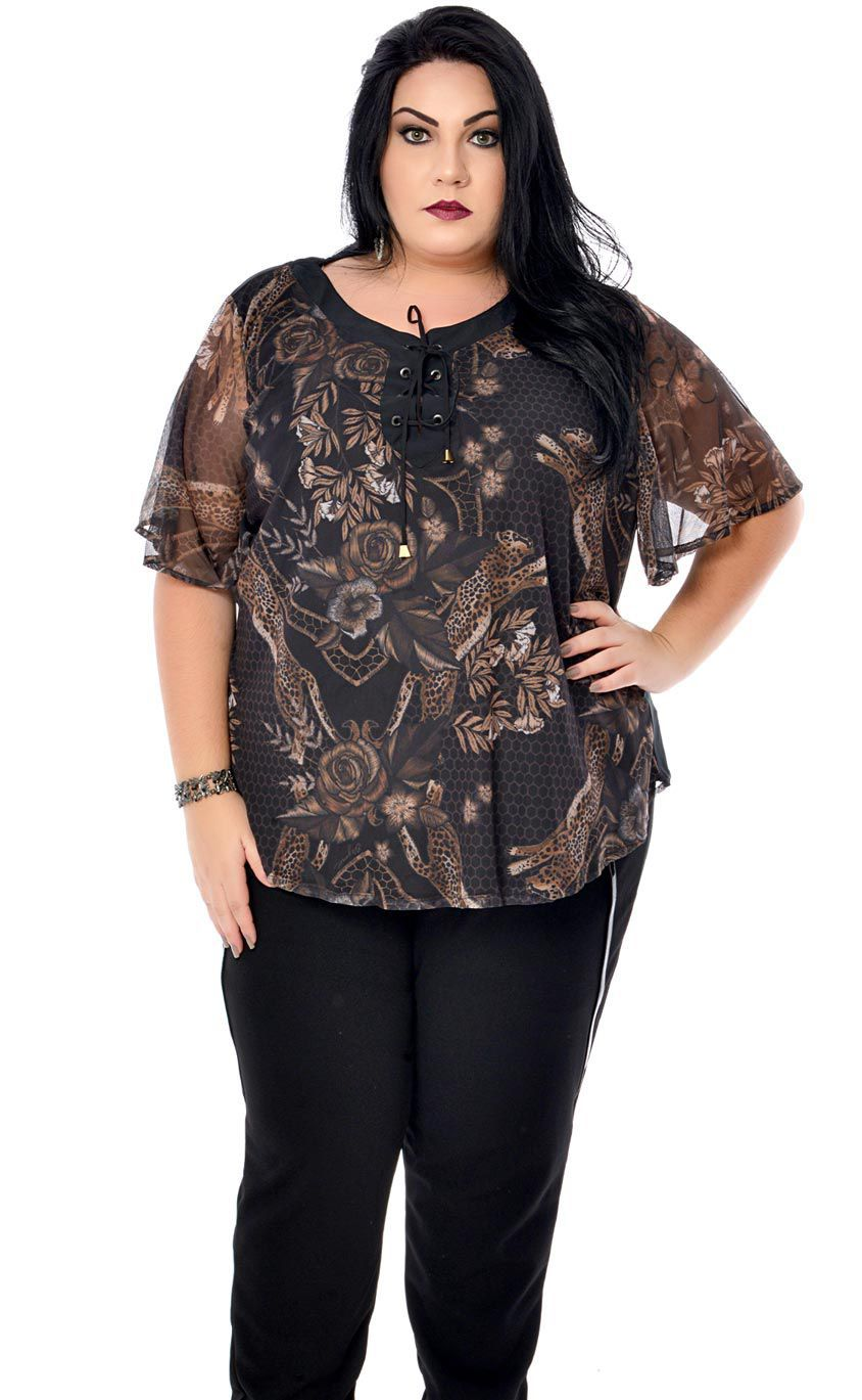 Blusa Plus Size Dark Floral