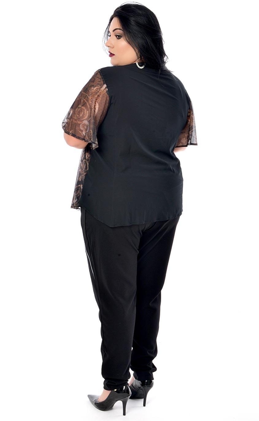 Blusa Plus Size Dark Floral