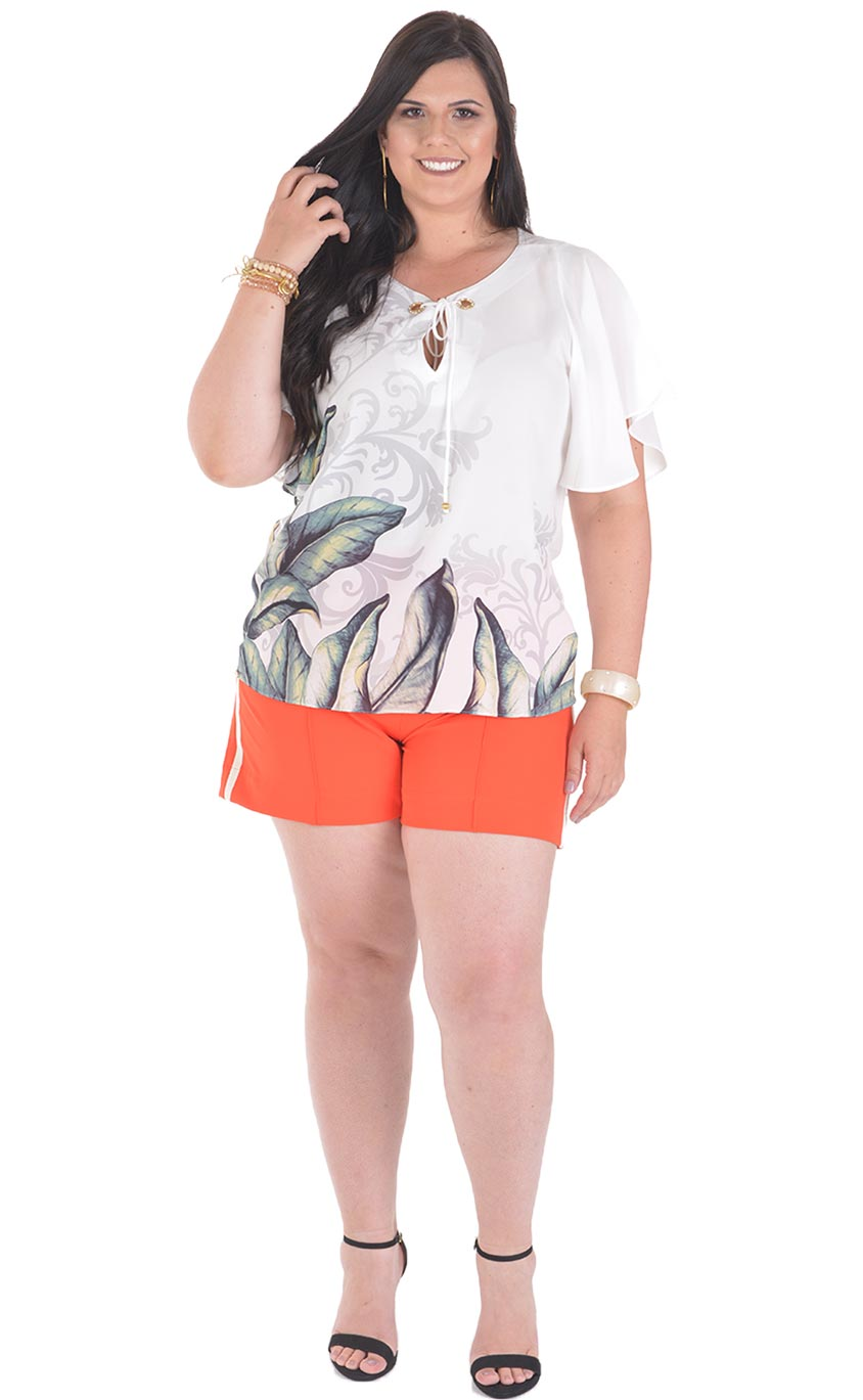 Blusa Plus Size Foliage
