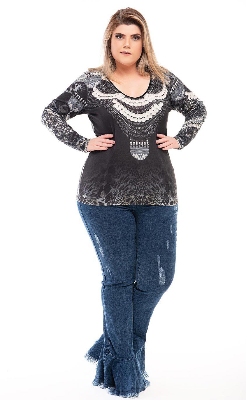 Blusa Plus Size Gris