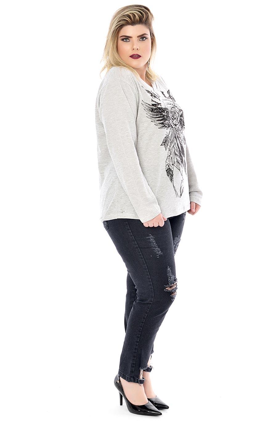 Blusa Plus Size Mikina