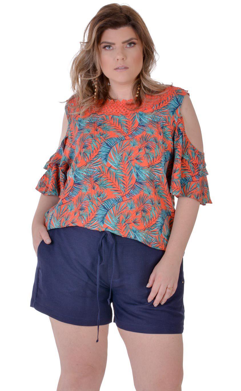 9039a751f5 Blusa Plus Size Palmblatt