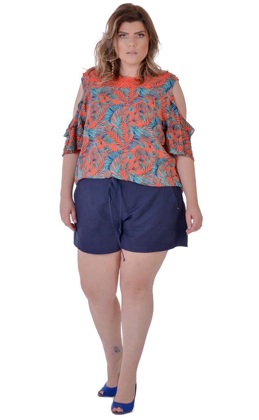 Blusa Plus Size Palmblatt