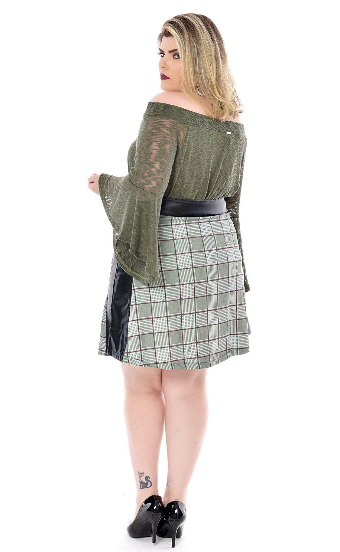 Blusa Plus Size Schulter