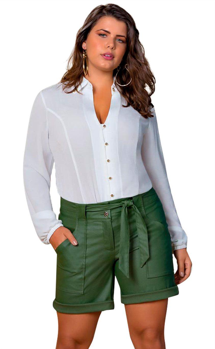 Camisa Plus Size Bianco