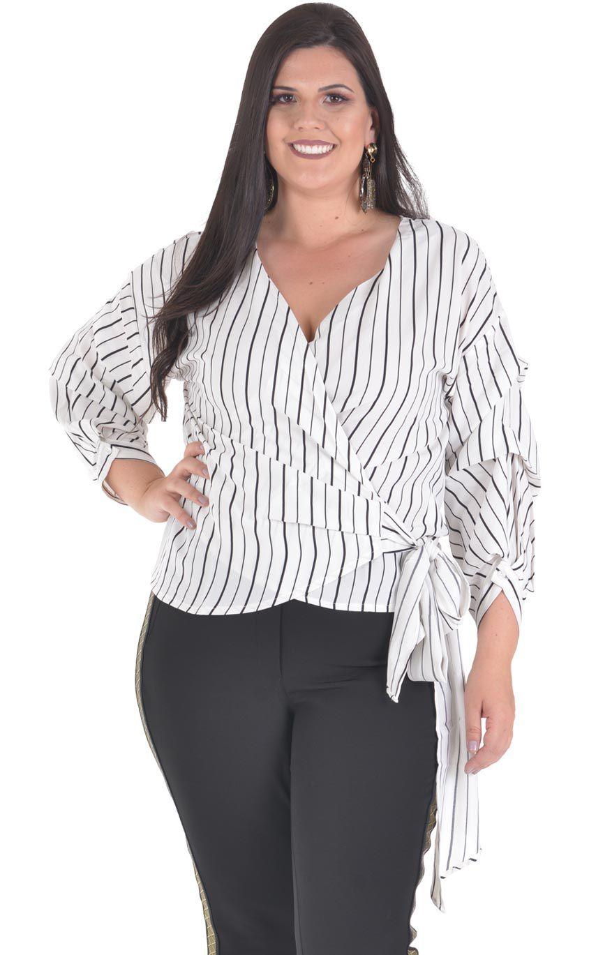 Camisa Plus Size Strisce