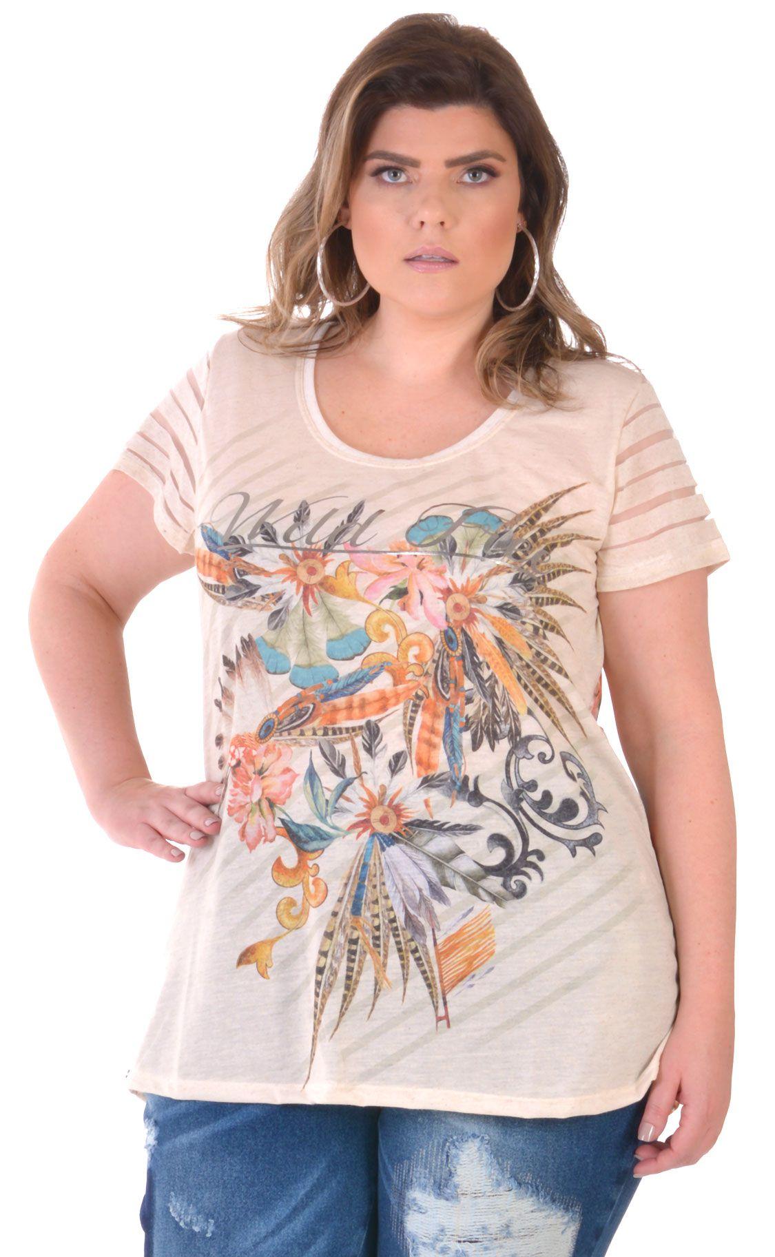 Camiseta Plus Size Cream