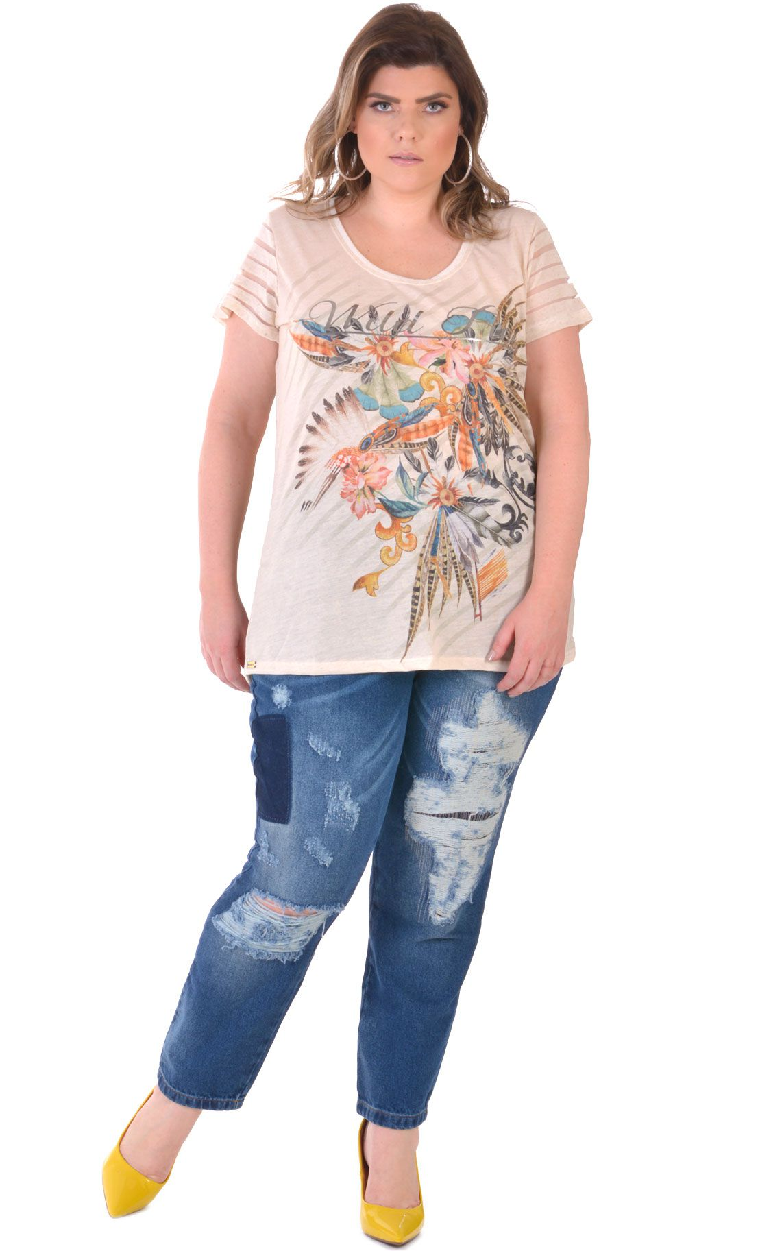 Camiseta Plus Size Cream