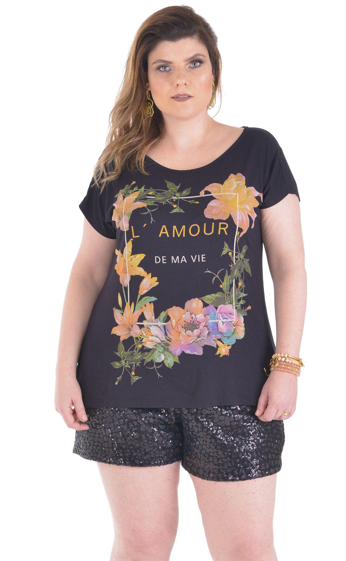 3cb7bb42466c03 Camiseta Plus Size L'Amour