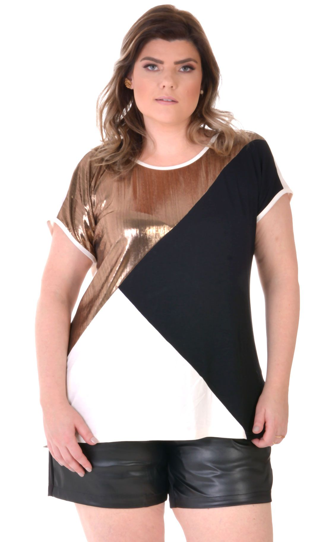 Camiseta Plus Size Metallic
