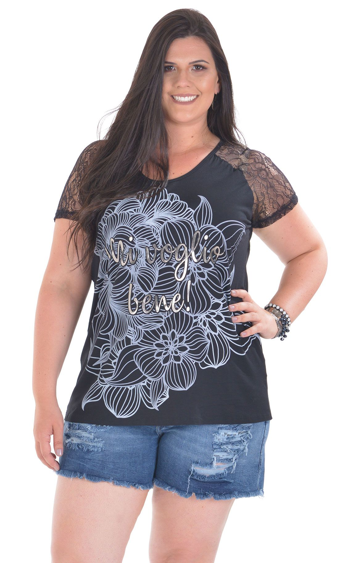 Camiseta Plus Size Plata
