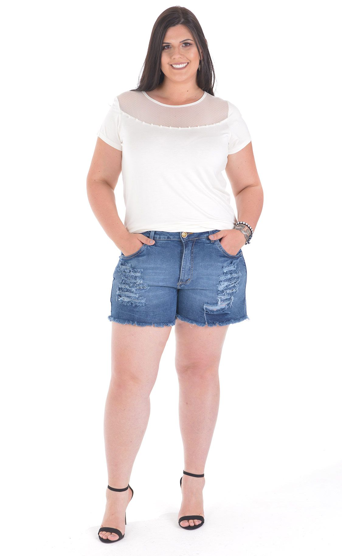 Shorts Jeans Plus Size Inky