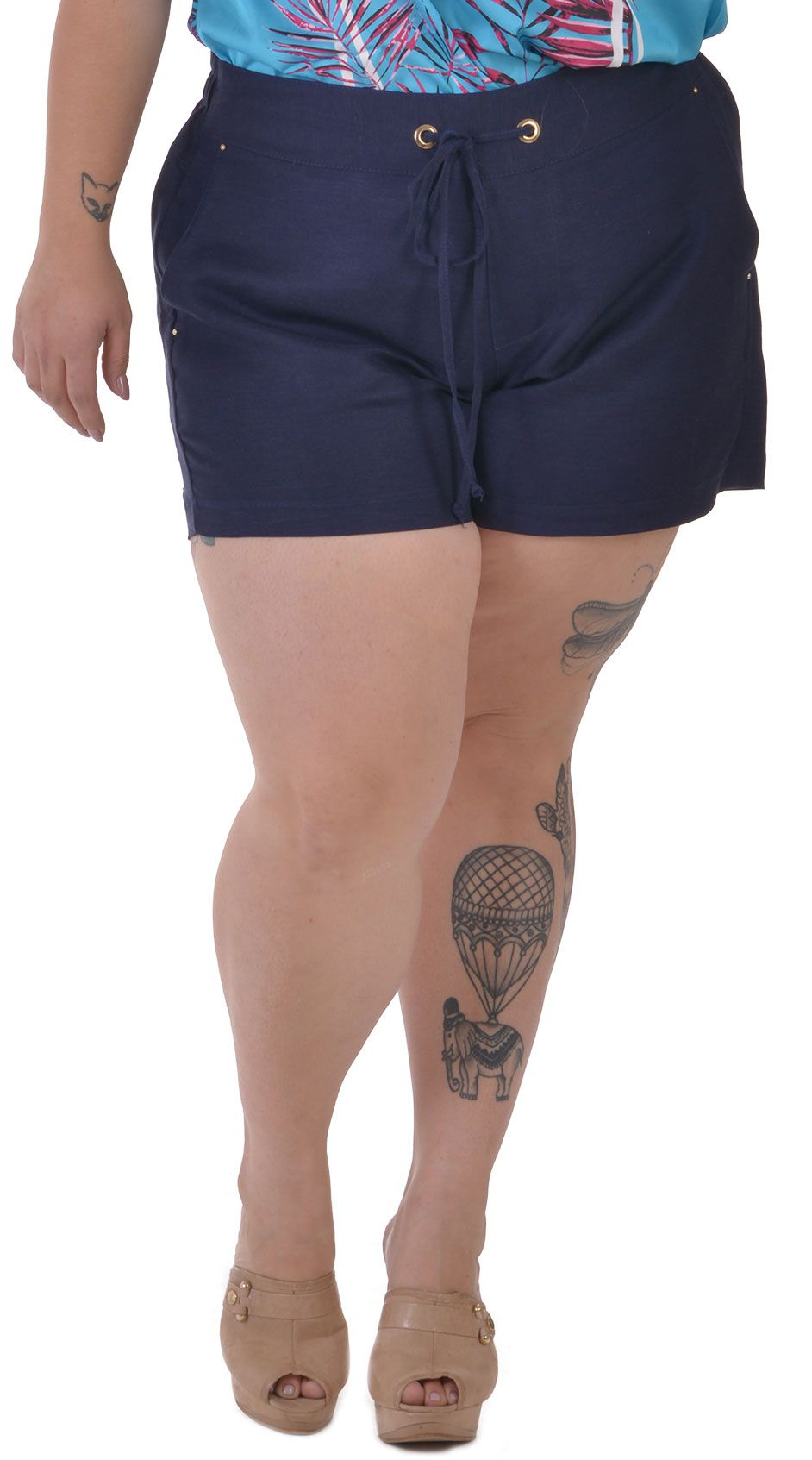 Shorts Plus Size Flax