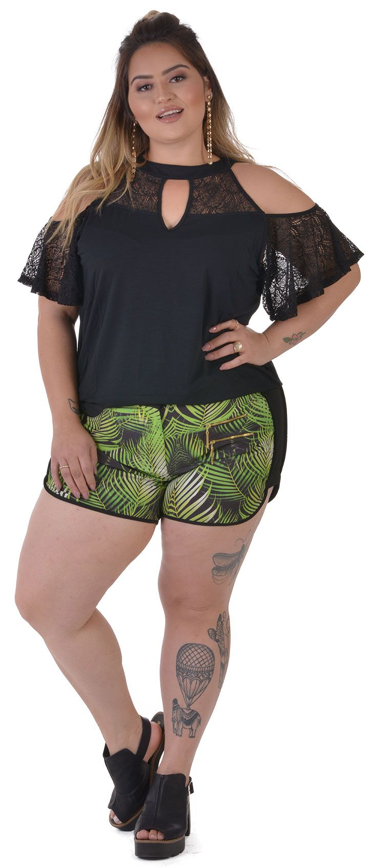 Shorts Plus Size Jungle